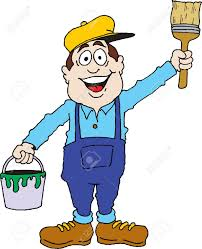 cartoon image of a painter ready for work royalty free cliparts