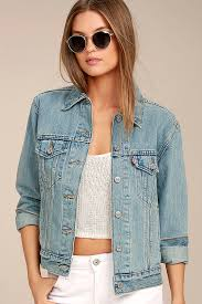 Light Denim Jacket Levi U0027s Ex Boyfriend Trucker Light Wash Denim Jacket