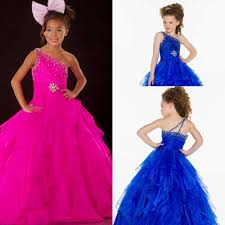 one shoulder crystal cheap girls pageant dresses kids ball gowns