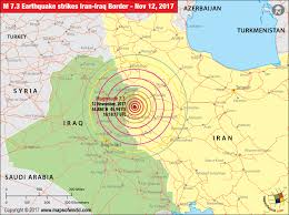 map iran iraq iran earthquake map areas affected by earthquake in iran