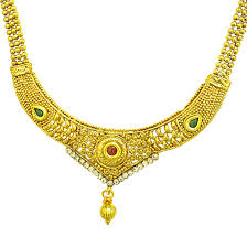stone colored necklace images Temple designed colored stone and gold plated necklace earring jpg