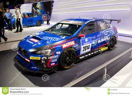 subaru sti rally car subaru wrx race car geneva 2014 editorial stock photo image