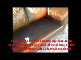 Leather Sofa Color Restoration by Leather Furniture Leather Repair And Color Restoration Youtube