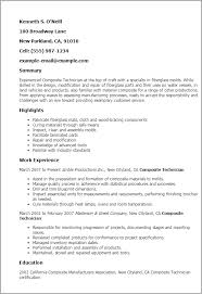 Manufacturing Resume Templates Professional Composite Technician Templates To Showcase Your