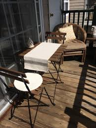 furniture porch with bistro table ikea and folding chairs also