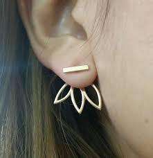 front and back earrings s flower earrings front back earring set ear jacket lotus