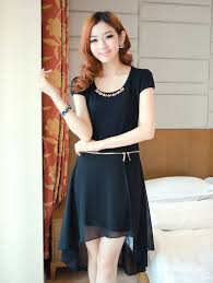 modern dress style zip up black detachable dress
