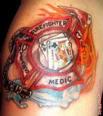 firefighter maltese cross tattoo on shoulder in 2017 real photo