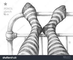vector pencil sketch feet gray illustration stock vector 265060739