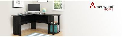 S Shaped Desk Ameriwood Home Dakota L Shaped Desk With Bookshelves