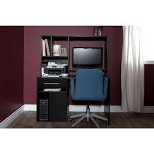 Computer Desk With Hutch South Shore Annexe Pure Black Desk 9044070 The Home Depot