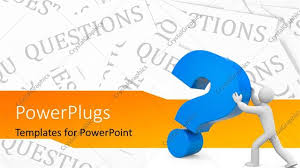 powerpoint template 3d man pushing large blue question mark