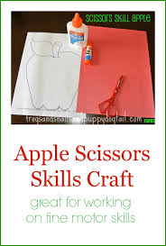 apple scissor skill craft and coloring page fspdt