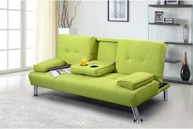 Green Sofa Bed New York Upholstered Fabric Sofa Bed With Drinks Table Green