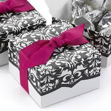 damask ribbon damask wedding party favor box with fuchsia ribbon pack of 25