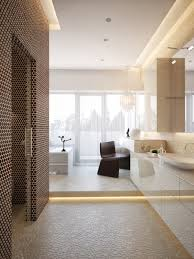 elegant modern master bathroom design with glass shower area