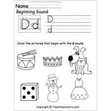 beginning d sound worksheet