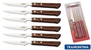 tramontina churrasco set of 6 premium steak knives wooden handle