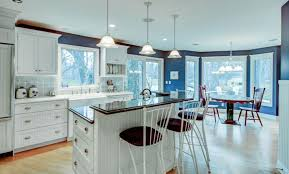 blue kitchen walls with brown cabinets 33 blue and white kitchens design ideas designing idea