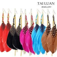 one side feather earring 2017 feather earrings chain yuanwenjun