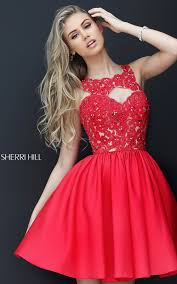 red sherri hill 50581 taffeta lace short homecoming dress prom