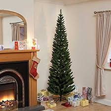 7ft green pine pencil slim artificial tree with 400