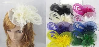 feather flower women wedding gauze yarn lace feather flower pearl beaded hat cap