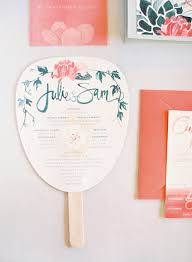 wedding ceremony fan programs wedding ceremony program favor fan invitation pink green once wed