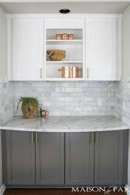 Two Color Kitchen Cabinets Our Oak Kitchen Makeover Oak Kitchen Cabinets Subway Tile