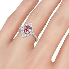 art deco oval cut pink sapphire milgrain vintage engagement ring