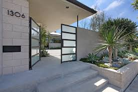 landscaping retaining wall entry midcentury with concrete concrete
