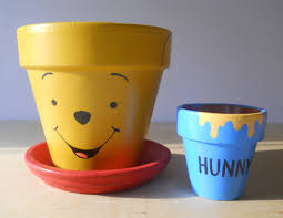omg winnie the pooh hand painted flower pot gift set with honey