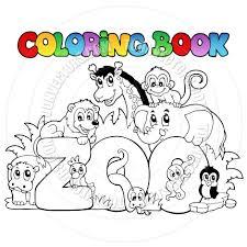 cartoon coloring book zoo animals by clairev toon vectors eps 34956