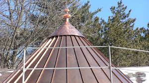 Copper Roof Cupola Copper Roof With Finial During Installation Cupolas And Finials