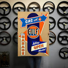 gulf racing logo garage car bone pl