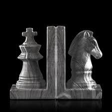 knight u0026 king chess grey stone ceramic bookends addresshome