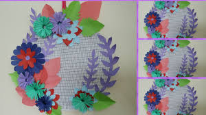 diy wall decoration with paper at home how to make paper flower