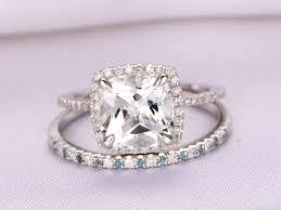 white topaz engagement ring 8mm cushion white topaz engagement ring set 14k white gold london