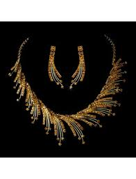 gold spray choker necklace earring set bridal wedding