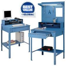 Blue Computer Desk Shop Receiving Desks At Global Industrial