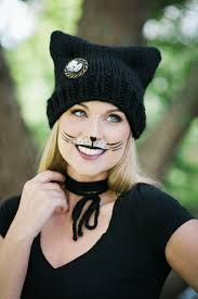 halloween inspired cat ear beanie knitting pattern and makeup