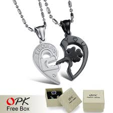 stainless steel puzzle necklace images Opk jewelry new personality heart and key puzzle couple necklace jpg