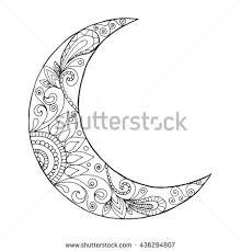 royalty free decorated swirl crescent moon symbol 470636942