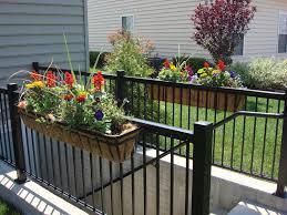 living accent deck rail planter flat iron planter box black color