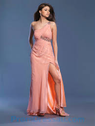 buy tailor made one shoulder coral slit chiffon and satin empire