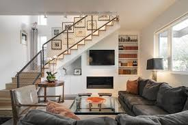 finished basement staircase railings living room contemporary with