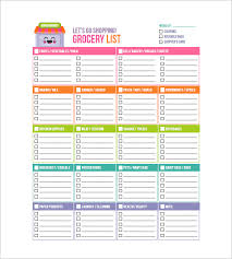 Shopping List Template grocery list template 8 free sle exle format