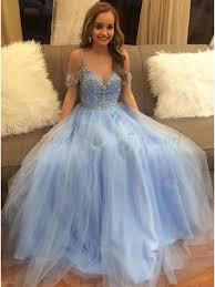 where to buy tulle buy a line straps floor length blue tulle prom dress with beading