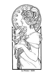 alphonse mucha art nouveau coloring pages for adults coloring