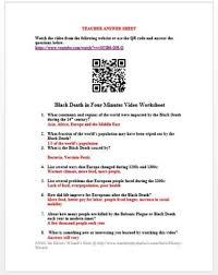 black death in four minutes video worksheet middle ages by